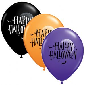 Halloween Latex Balloons | Moon & Bats | Free Delivery